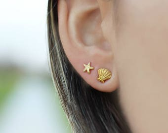 Starfish and Shell Earrings / Mix and Match Earrings in 14k Gold Filled / Beach Jewelry