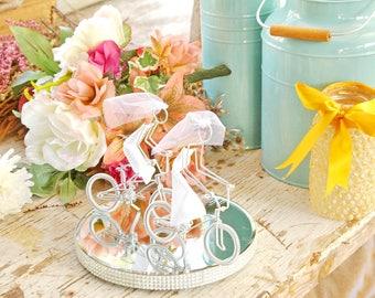 LGBT Wedding Cake Topper, Mrs and Mrs Silver BMX Wedding Bikes with Silver Wheels, Handmade, Wedding Cake Topper