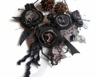 Black fiber art bib necklace, burlesque wearable art featured In Autumn 2011 Belle Armoire Jewelry Magazine, textile art, Evening beauty VI