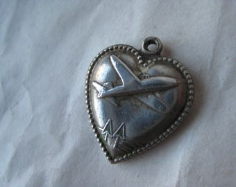 Puffy Heart Airplane Sterling Charm Vintage WW2 Silver 925 Puffed World War Two Plane