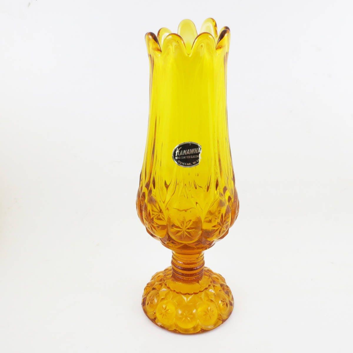 Mid century art glass vase kahawha glass west virginia amber description this vintage glass vase reviewsmspy