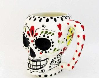 Ceramic Sugar Skull Mug Day of The Dead Original Hand Painted Mexican Folk Art Design Dia de los Muertos Traditions Domestic Clay Kiln Fired