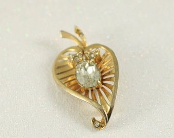 Vintage Heart Brooch Coro Brooch Gold Tone And Rhinestone Brooch vintage Jewelry vintage Brooch