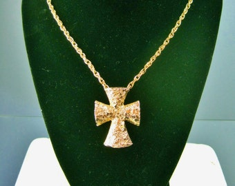 Sarah Coventry Cross Necklace / Vtg 70s / Golden Splendor Gold nugget puffy cross / Hammered gold crucifix