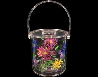 "Lucite Ice Bucket with Daisy Flower Design, 7.25"" Large Vintage Kitsch Bar Decor"