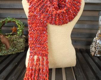 Hand Knit Scarf          Red Art Yarn Scarf