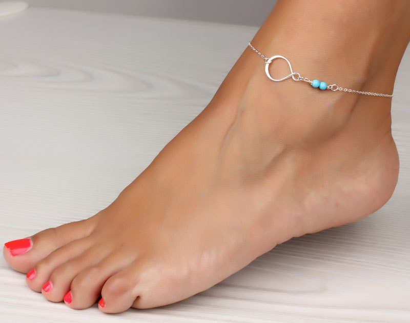 anklet womens body ankle layer heart silver double bracelet sterling jewelry summer for store beach woman anklets bracelets foot product beads