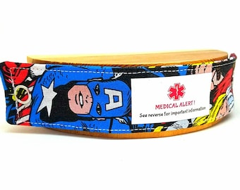 Captain America ID Bracelet Medical Alert Fabric Wristband
