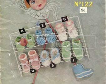 Baby Bootees and Slippers 3ply Sirdar 122 Vintage Knitting Pattern PDF instant download