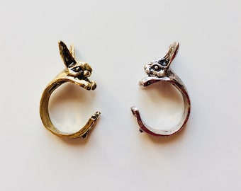 Rabbit | Animal | Woodland | Cute | Statement | Wrap Around | Ring