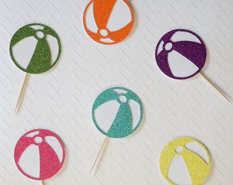 Beach ball cupcake toppers; Summer party, Pool Party, Birthday Party