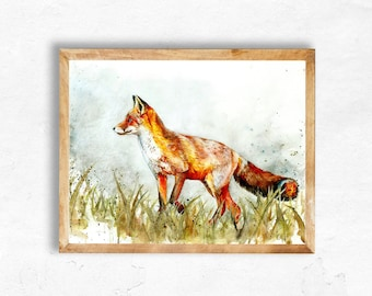 Colourful A3 Watercolour Fox Painting Original Art Print - Limited Edition