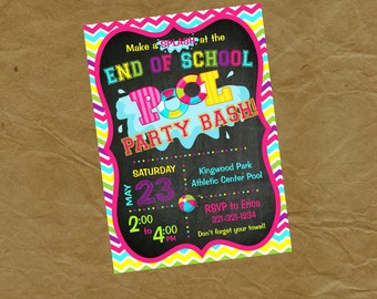 END OF SCHOOL Swimming Party Invitation  - Digital file to print