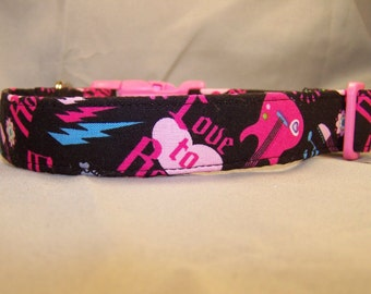 Rock and Roll Dog Collar, Pink and Black Guitar Dog Collar