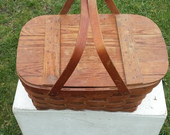 Vintage Woven Wood Picnic Basket, WOV-N-WOOD By Jerywil Wood Basket, Craft Basket, Storage Basket, Farmhouse, Rustic, Country Decor