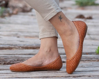 Camel Woven Shoes, Vegan Leather Shoes, Loafers, Flat Shoes, Ballerina Shoes, Slip Ons, Camel Shoes, Camel Flats , Free Shipping