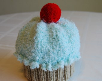 Fuzzy Sweetie Aqua Baby Cupcake Hat with Red Cherry (0-6 months)