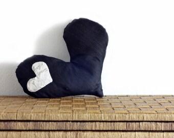Throw pillow, heart cushion, decorative pillow, black jeans cushion