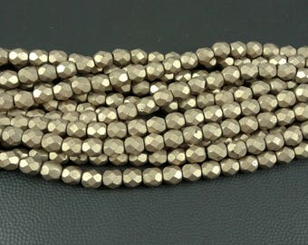 Matte Finish Taupe Czech Beads, 6mm Czech Glass Beads, 6mm Taupe Faceted Round Beads, Saturated Hazelnut Matte (FP6/SM-77056) - Qty. 25