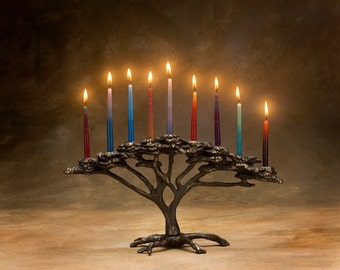 Tree of Life Menorah  Cast Bronze 9 Candle for Hanukkah or Decor