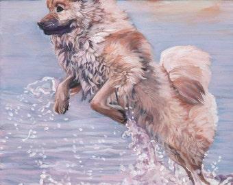 "EURASIER dog art portrait canvas PRINT of LAShepard painting 8x10"""