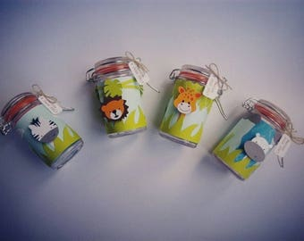 Jungle themed jar favors containers