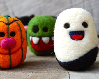 Needle Felted Halloween Egg Set MADE TO ORDER
