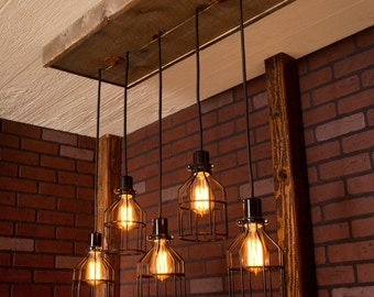 Lighting Industrial Chandelier Black With Reclaimed Wood And 5 Pendants