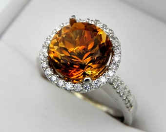 AAAA Golden Citrine 10mm Round  4.12 Carats 14K white gold Diamond Halo Wedding Bridal set .60 carats of diamonds 2360