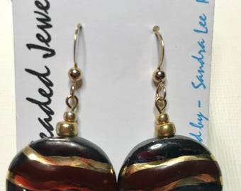Kazuri Bead Brown and Gold earrings