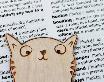Wooden Cat Bookmark Personalised Engraved Animal Book Lover Gift