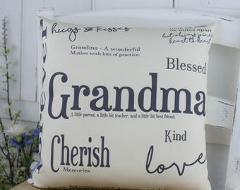 Grandma Gift Word Pillow Gift for Her. Grandparent gift for Mothers Day.