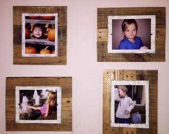 Picture Frames - (4X6--20x20) Rustic Reclaimed Pallet Wood. Custom Frames. Photo Transfers