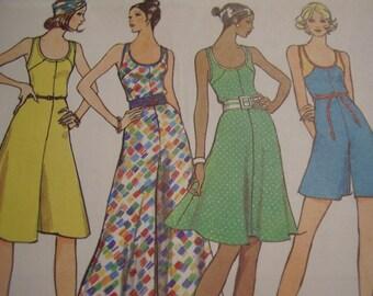 Vintage 1970's Vogue 8298 Dress or Pantdress Sewing Pattern, Size 10, Bust 32 1/2