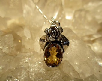 Citrine Rose Necklace ~Hand Fabricated~ Sterling Silver w/ 18 inch Sterling Chain