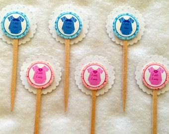 Set Of 12 Baby Shower Gender Reveal Little Man or Little Lady Cupcake Toppers (You Choice Of Any 12)