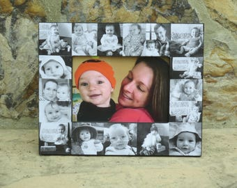 """Baby Photo Collage Frame, Baby's First Year, Personalized Baby Frame, Unique Father's Day Gift, Collage Frame, Mother's Day Gift, 5"""" x 7"""""""