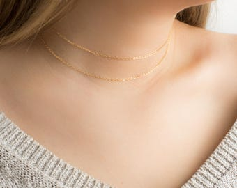 Dainty Choker Necklace. Gold Layering Necklace. Simple necklace. Thin Necklace. Delicate Gold Choker. Silver Necklace. Multi Layer Necklace.