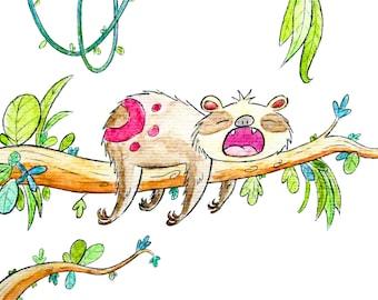 Sleeping Sloth 8x10 Print