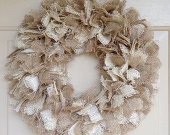 BUILD  a WREATH -Step 1 Base Wreath  Frayed Burlap Wreath style, Interchangeable wreath, Space Saver wreath,3 colors, 2 sizes