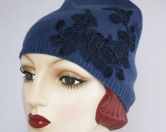 Beanie Skull Cap, Cashmere Knit Hat, Blue With Navy Floral Lace Applique