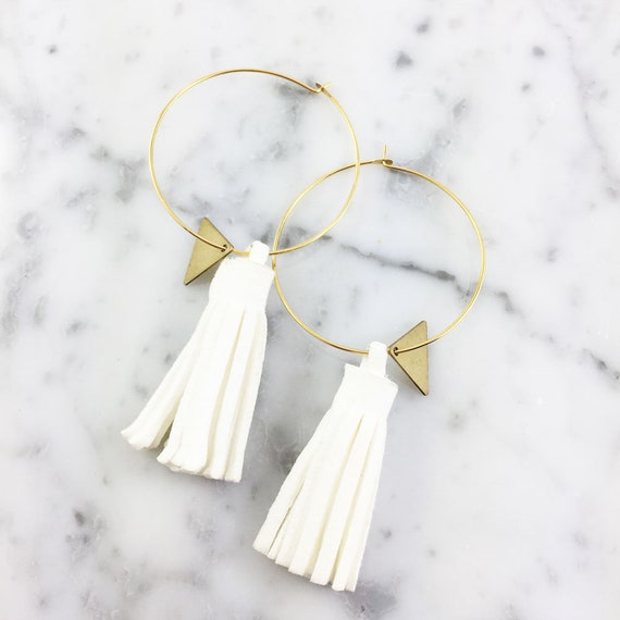 Hoop white glands earring, ring, gold, nickel free, triangle, 3,5cm, les perles rares