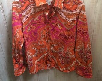 Vintage - blouse - blouse - Talbot - orange paisley - medium