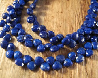 "Lapis Hearts 8"" Full Strand, Moonstone Briolettes, 50+ Gemstones, 8 Inch Strand of 6mm Heart Beads (B-Lap1a)"