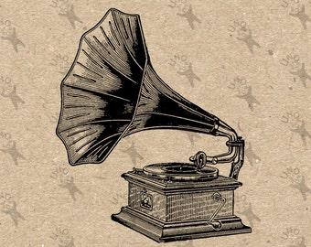 Vintage Gramophone Phonograph Instant Download picture Digital printable clipart graphic scrapbooking,  home decor,  prints etc HQ 300dpi