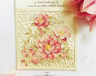 Floral pink laser cut personalised wedding invitation 5557