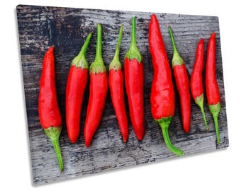 Kitchen Red Chilli Hot CANVAS WALL ART Framed Print Picture