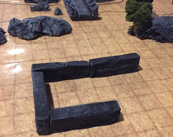 FOUR Unpainted Stone Wall, D&D Pathfinder Dungeon Gaming Fantasy TableTop Terrain Miniature Roleplaying RPG