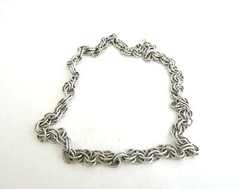 Multi Link Chain Necklace Brushed Silver Tone