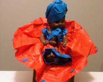 "12"" DOLL - Dressed in Authentic African Attire-West Africa"